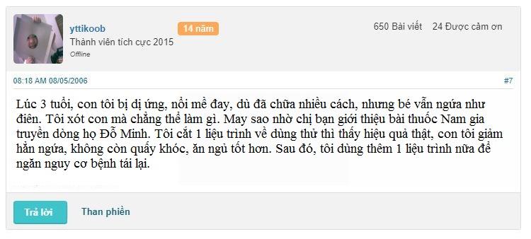 Phản hồi của tài khoản yttikoob, thành viên webtretho về hiệu quả sử dụng bài thuốc Nam gia truyền dòng họ Đỗ Minh