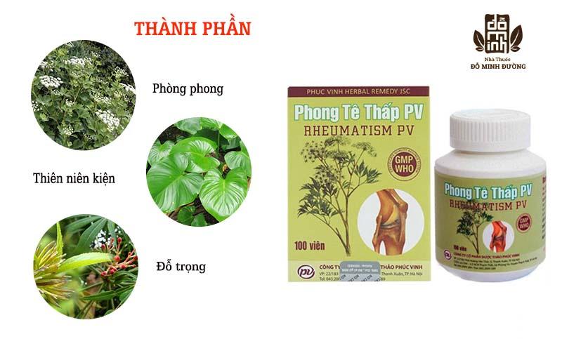 Phong tê thấp PV được bào chế từ các thành phần thảo dược tự nhiên