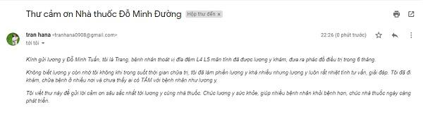 Thư cảm ơn bác sĩ Đỗ Minh Tuấn của bệnh nhân