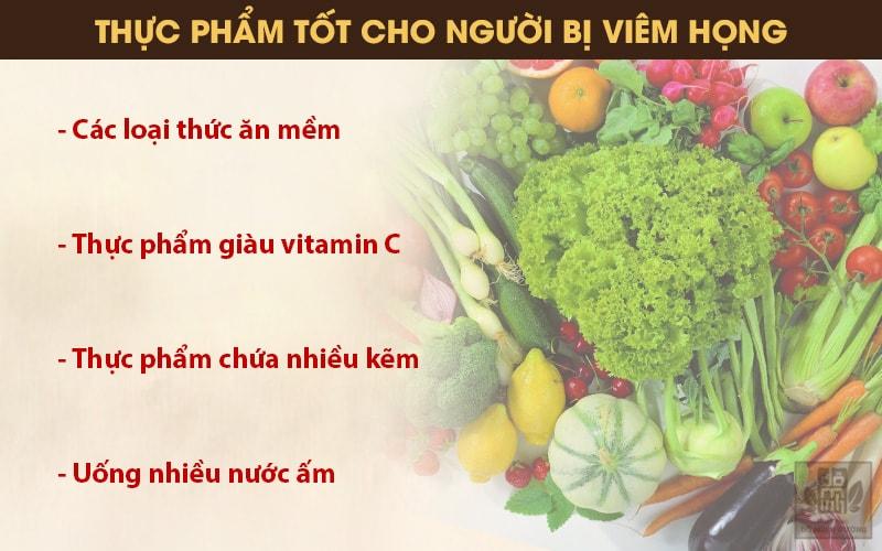 Dinh dưỡng cho người bị viêm sưng họng