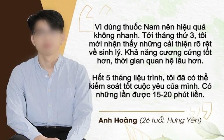 Chia sẻ của bệnh nhân Hoàng về hiệu quả bài thuốc Sinh lý nam Đỗ Minh