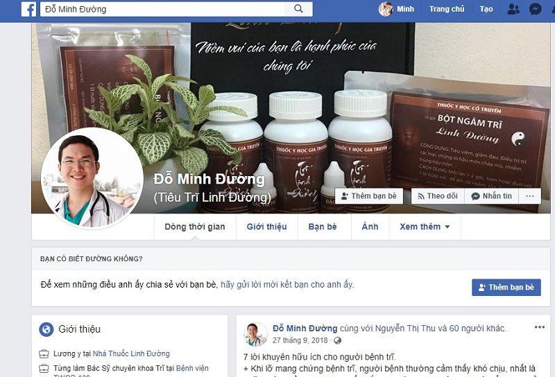 Trang facebook tên Đỗ Minh Đường nhưng bán sản phẩm khác, gây nhầm lẫn cho khách hàng