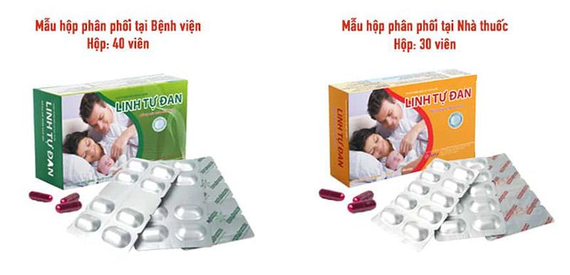 Hai mẫu hộp của sản phẩm chữa tinh trùng yếu Linh tự đan