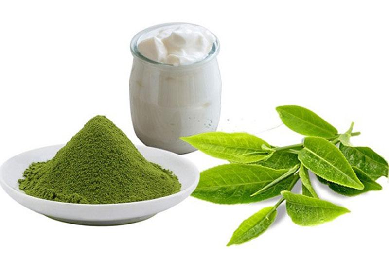 Kết hợp trị dị ứng da mặt bằng sữa chua và bột trà xanh sẽ giúp cải thiện tình trạng nhanh chóng