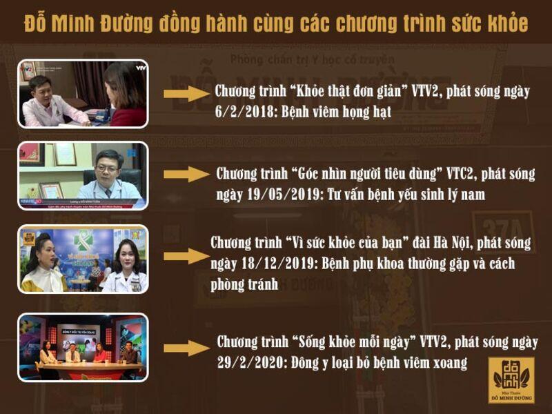 Nhà thuốc Đỗ Minh Đường đồng hành cùng một số chương trình sức khỏe uy tín hàng đầu
