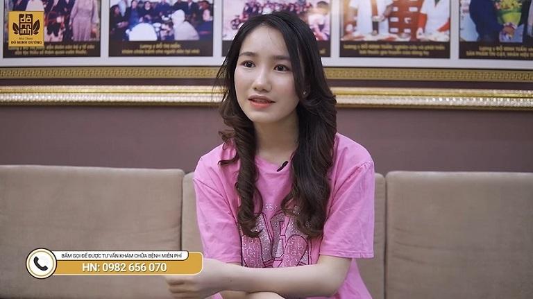 Cô gái trẻ chia sẻ về tình trạng rối loạn nội tiết trước khi khám chữa tại Đỗ Minh Đường