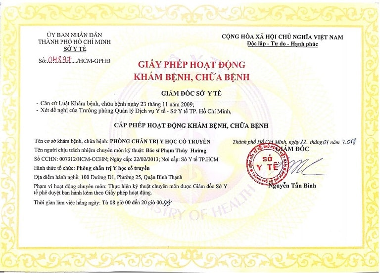 Giấy phép hoạt động của nhà thuốc Đỗ Minh Đường