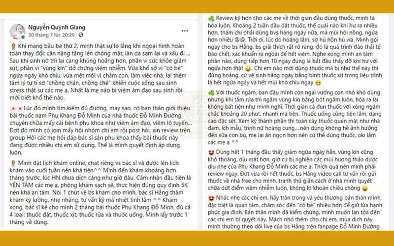 Chia sẻ của chị Quỳnh Gian trên Facebook cá nhân
