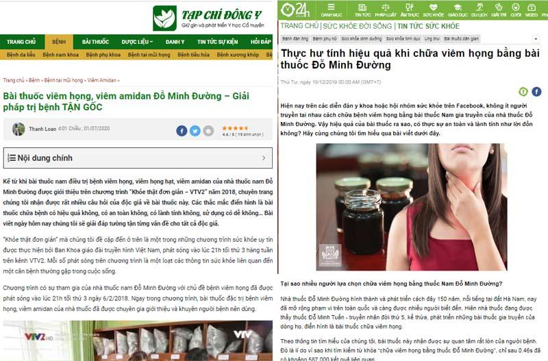 Báo chí đưa tin về bài thuốc nam gia truyền Đỗ Minh Đường