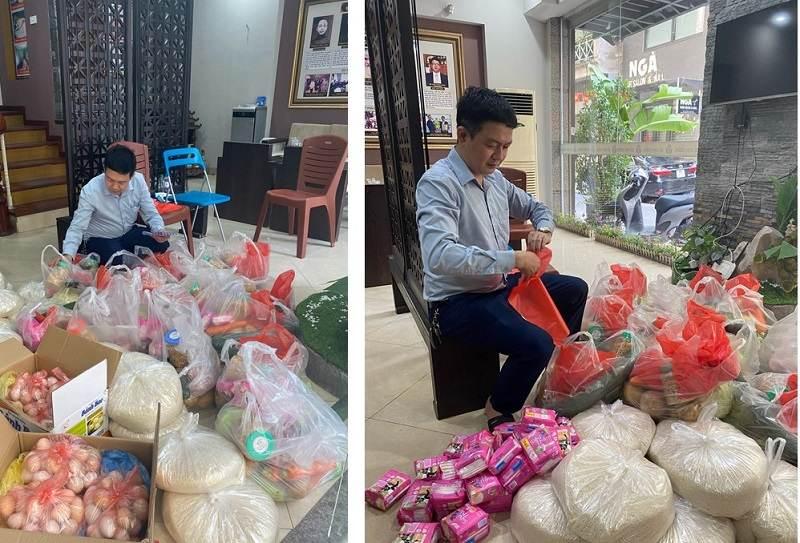 Lương y Tuấn gấp rút chuẩn bị các phần quà hỗ trợ sinh viên khó khăn