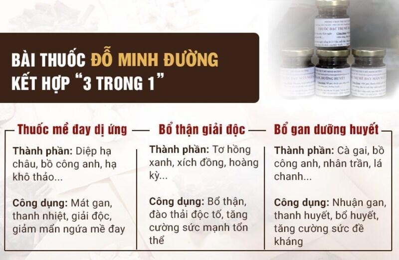"""Bài thuốc Mề đay Đỗ Minh kết hợp liệu trình """"3 trong 1"""""""